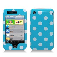 Cellular Connection Snap on Protector Hard Case Image Cover Polka Party For Apple iPhone 3G, 3GS - Baby Blue