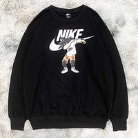 NIKE & Wukong New fashion letter people print couple long sleeve top sweater Black