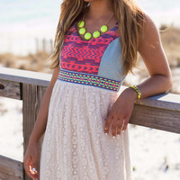Elements Of Style Aztec And Lace Mini Dress