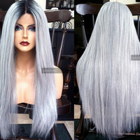 """USA // Silver Gray Yaki Texture 24"""" Long Heat SAFE Lace Front & Part OMBRE White Wig w/ Dark Root"""
