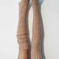 Tangelo Marled Cable Knit Thigh High Socks