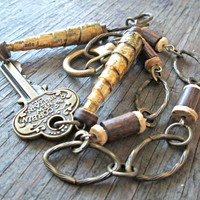 Upcycled recycled repurposed Antique Key pendant - Assemblage Boho jewelry - Asymmetrical necklace - Paper bead necklace - Steampunk