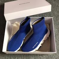 Balenciaga Blue Elastic Knitted socks sports shoes