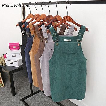 Womens Retro Corduroy Dress Suspender Sundress Assorted Colors Loose Vest Overall Casual Dress