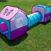 Girls Pop up Play Tent Set with Tunnel, Play Ground, Room, New Child Play Hut. Inside - Outside.