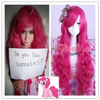 L-email Long My Little Pony Pinkie Pie Wavy Cosplay Wig Pink