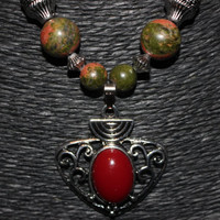 Silver/ Red Stone Pendant with Unakite Stone Beaded Necklace