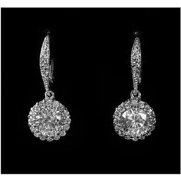 Chasity Round Drop Earrings | 2.8ct | Cubic Zirconia | Silver