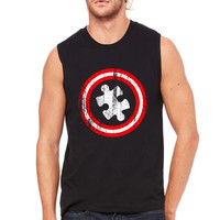 austim awareness captain austim funny Muscle Tank