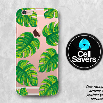 Tropical Leaves Clear iPhone 6s Case iPhone 6 Case iPhone 6 Plus iPhone 6s Plus iPhone 5c iPhone 5 iPhone SE Clear Case Leaves Summer Tumblr