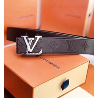 LV Louis Vuitton New fashion letter buckle monogram leather couple belt Coffee