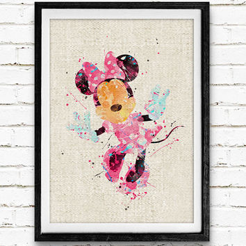 Minnie Mouse Watercolor Poster Print, Disney Baby Girl Nursery Room Art, Kids Decor, Home Decor, Not Framed, Buy 2 Get 1 Free!