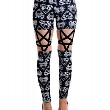 Too Fast Women's Pentagram Legging - Planchettes