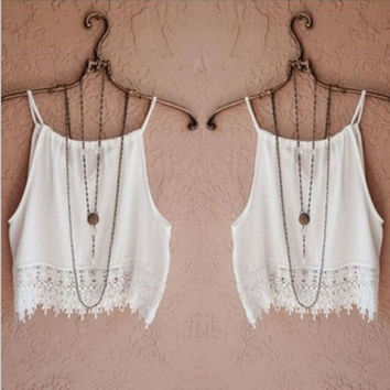 Sexy Women's Lady Summer Sleeveless Camisole Casual Lace Crop Blouse Tops Tank Tee = 1956657284