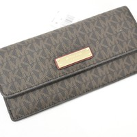 NWT Michael Kors Money Pieces Signature 'MK' Flat Wallet in Brown / Mulberry