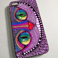 Alice In Wonderland Cat Purple - Print on Hardplastic for iPhone 4/4s and 5 case, Samsung Galaxy S3/S4 case.