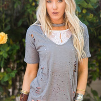 Gray Distressed Choker Cut Out Tee