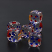 6Pcs set 20mm Red Blue Yellow Point #20 Large Transparent Dice Bar Hotel Crystal Dice