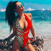 Halter Bandage Leopard Print Sexy Bikini Swimwear One-pieces suits Monokini Women Patchwork Beach Swimsuits