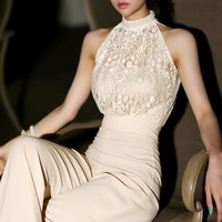 Womens  Beading Collar Lace Jumpsuit Chiffon Rompers Bodysuit Playsuit fashion rompers = 5658804097