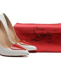 Christian Louboutin White Patent Leather Heart High Heels 100mm