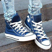 """Converse"" Fashion Canvas Flats Sneakers Sport Shoes High tops Dark blue"