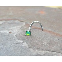 Light Peridot Green Fire Opal Nose Ring Stud