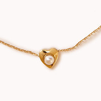 Faux Pearl Heart Necklace