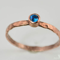 Thin Copper Blue Zircon Ring, Hammered Copper, Blue Zircon Mother's Ring, Decembers Birthstone Ring, Copper Jewelry, Blue Zircon Ring