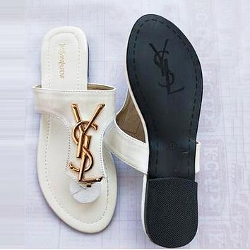 YSL Summer Fashion Women Casual Flat Sandal Slippers Shoes White