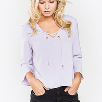 PAMELA LACE-UP TOP IN Lilac