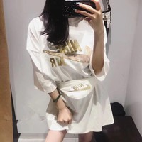 nike women loose casual fashion embroidery sequin letter print short sleeve t shirt dress waist bag set two piece