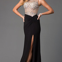 Sleeveless Floor Length Dress with Illusion Bodice