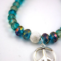 """Peace & Crystal Bracelet, Yoga Inspired: Genuine """"Aqua Borealis"""" AA Crystal and Silver Plated Peace Sign Pendant with Swarovski Accent"""