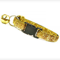 "Cat Collar - ""Heart of Gold"" - Gold Sparkle"