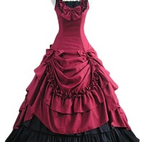 Solilor Gothic Victorian Red and Black Short Sleeve Lolita Bow-knot Dress
