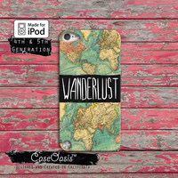 Wanderlust Quote Vintage World Map Travel Wander Case iPod Touch 4th Generation or iPod Touch 5th Generation or iPod Touch 6th Gen Rubber
