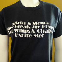 20% OFF SALE 1980's Black Kinky Tee. 50 Shades Of Gray T-Shirt. Bdsm. Whips and Chains. Unisex. Small Medium