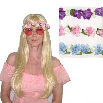 SALE 50% Off Flower Crown Purple Pink Or Blue You Choose Floral Elasticized Headband Be Sure To Wear Hippie Flowers In Your Hair