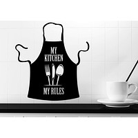 Wall Vinyl Decal Kitchen Decorations Apron Words My Kitchen My Rules Unique Gift z4763