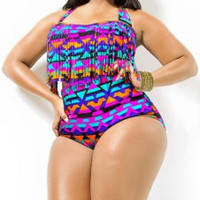 Halter Plus Size Fringe Design Printed High-Waisted Bikini Set For Women