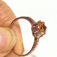 Victorian Art Nouveau14K Rose Gold Ring, Orange Spinel Stone, Gemstone, Etched, Solitaire, Late 1800s to 1900s