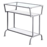 """White/Clear/Silver, Metal, Mdf, Tempered Glass - Accent Table 12"""" x 24"""" x 22"""""""