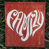 Family Heart Distressed Rustic Red Reclaimed Wood Hand Painted Sign