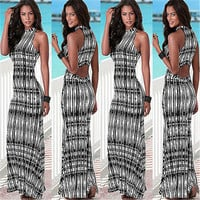 New Arrival Women Summer Long Maxi Dress Sleeveless Vintage Casual Dress Exotic Printing Style Striped Long Beach Dress Sundress