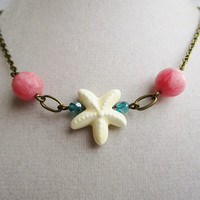 Ivory Glass Starfish Teal Czech Glass & Faceted Pink Agate Necklace with Bronze Chain