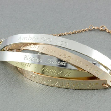 Personalized curved  Half Cuff Bracelet,Personalized Bar Bracelet, Bracelets With Inspirational Quotes, Mantra Sterling Silver,gold,rosegold