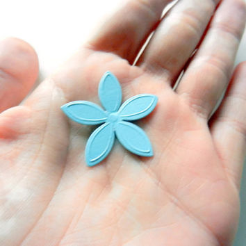 Light Blue Punched Flowers, Die Cut, Embellishments, 90 Flowers