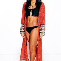 Sophia Border Print Tie Front Maxi Beach Cover Up