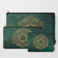 Carry-All Pouch - Temptation Mandala on Green  - Canvas-like fabric, Travel, Pocket, Pattern, Traveler, Custom, Carry, Cosmetic, Make-up